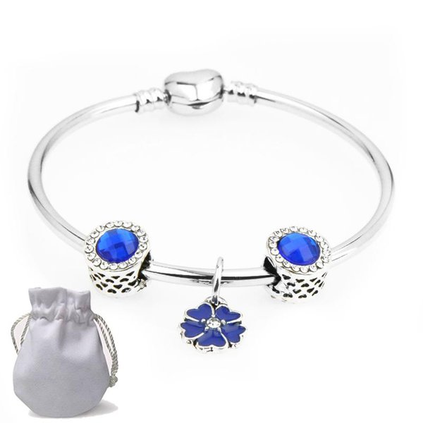 New Love Charms Bracelets Fit Pandora Flower Pendant Girls Hollow Crystal Beads Blue Gemstone Silver Heart Clasp Bangle gift Female