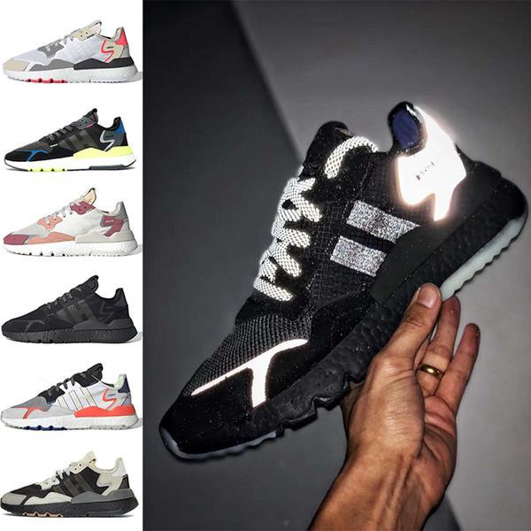 Acheter Adidas Nite Jogger Nite Jogger 3M Réfléchissant Mens Running Chaussures Triple Noir Blanc TRACE ROSE ICE MENTHE Femmes Formateurs Chaussures