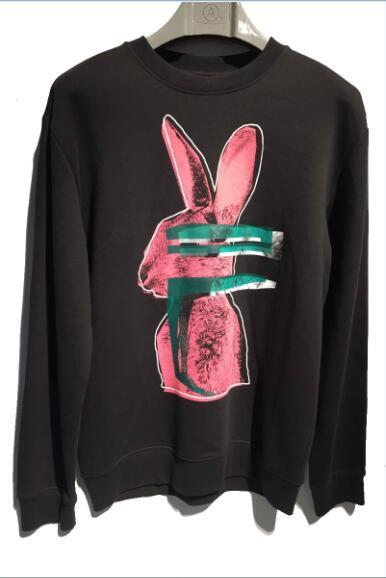 2018 venda quente Nova marca de moda dos homens casaco jaqueta Psychedelic impressão coelho camisola Hoodies Casual esportes camisola de manga Longa