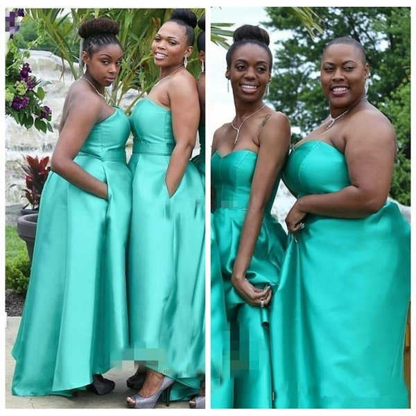 2019 Sweetheart High Low Girls Country Bridesmaid Dress Sleeveless Backless High Low African Custom Prom Wedding Guest Gowns Honor Of Maid
