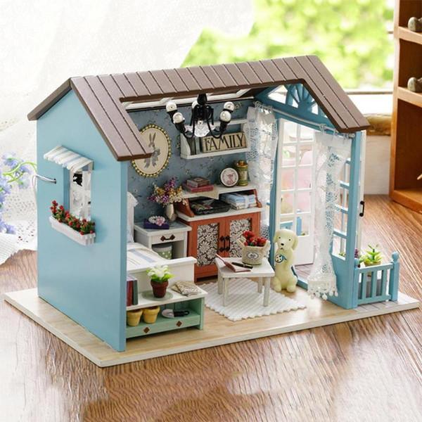 Diy mini casa de bonecas de madeira multicolor crianças brinquedo artesanal casa de bonecas kit de móveis em miniatura para as crianças de aniversário de natal presente