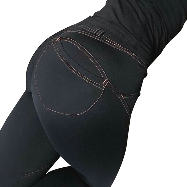 Женские повседневные эластичные имитационные джинсы Леггинсы Джинсовые синие леггинсы Push Up Модные женские черные хлопковые карманные
