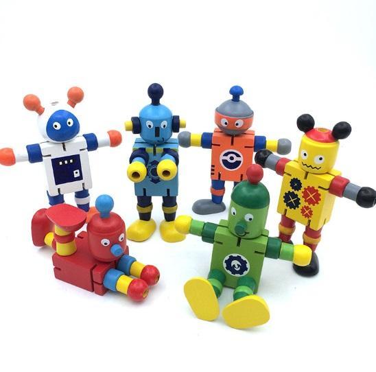 Robots de madera maciza Juguete, Robot Buddies para los niños Juego de roles, Robots Space Theme Party Activity, Cumpleaños y regalo de regalo para niños y niñas