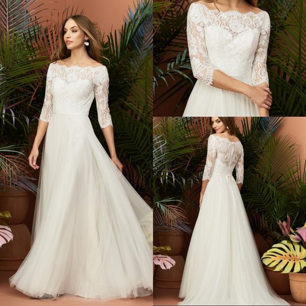 Free Shipping A Line Off The Shoulder Beach Ivory Tulle 3 4 Sleeve Wedding Dresses Sweep Train Lace Top Cheap Bridal Wedding Gowns