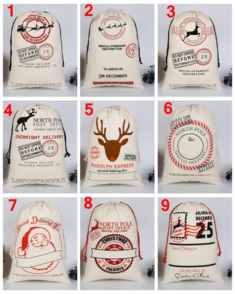 top popular 29 style DHL Free Large Canvas Monogrammable Santa Claus Drawstring Bag With Reindeers, Monogramable Christmas Gifts Sack Bags 2019