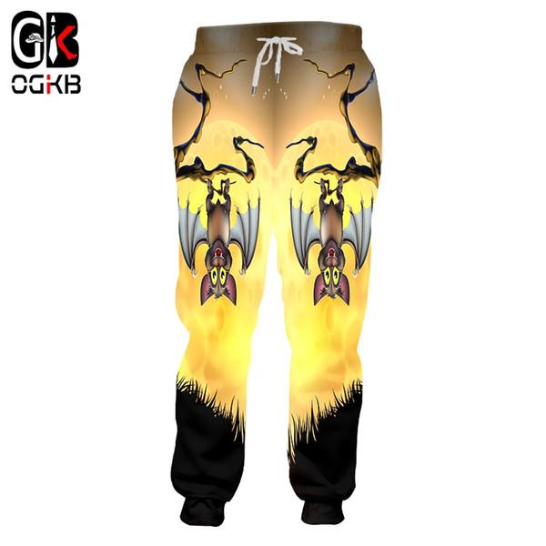 OGKB Unisex Hiphop Casual Sweat Pants Fall Winter Elastic Waist Full Length Joggers Haren Pants 3d Print Bat Moon Sweatpants