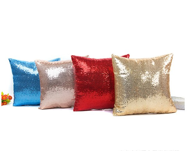 2019 new pillow cushion cover pillowcase sequins pillow wedding fashion solid color sequin pillow wholesale factory direct sales