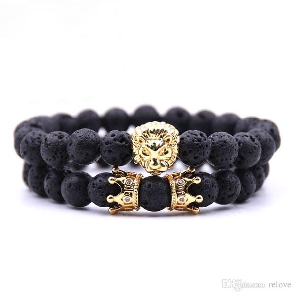 Лава рок бисер браслет нового способа Корона браслет ювелирных изделий золото / розовое золото Голова льва браслеты Бирюзовый Будда бисер браслет
