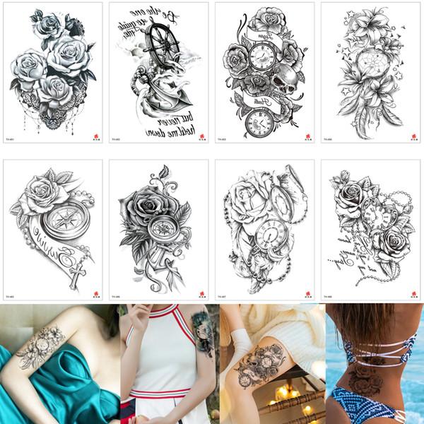 Gefälschte schwarze Blume Zeit temporäre Body Art Tattoo für Arm Bein zurück Design Wasser Transfer Anker Dreamcatcher Kreuz Herz Tattoo Aufkleber Papier