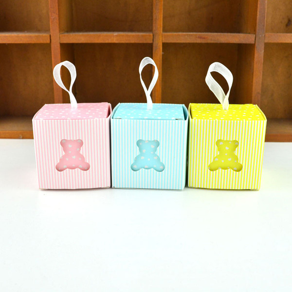 Creative Birthday Party Favor Sky Blue/Yellow/Pink Bear Candy Box Baby Shower Birth Announcement Giveaways Gift Box QW9850
