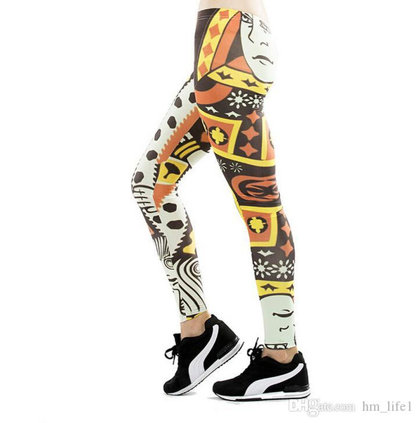 Women Yoga trousers pants Tights trousers Female Lady High waist dance active Leggings printing poker face dyeing Skinny silm motion