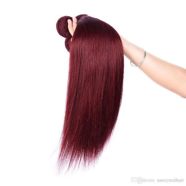 Hot Sale Unprocessed Straight Virgin Hair #99J Malaysian Human Hair 3 Bundles Lot Red Hair, free shedding&free tangle