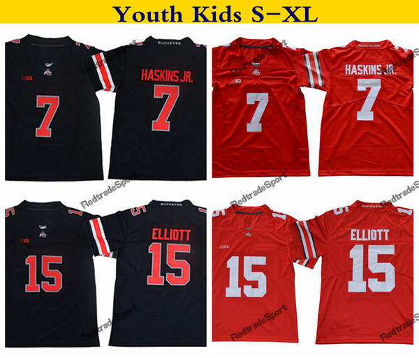 reputable site 458c8 b2a19 2019 2019 Youth Ohio State Buckeyes College Football Jersey Home Red Kids  15 Ezekiel Elliott 7 Dwayne Haskins Jr. Stitched Football Shirts S XL From  ...