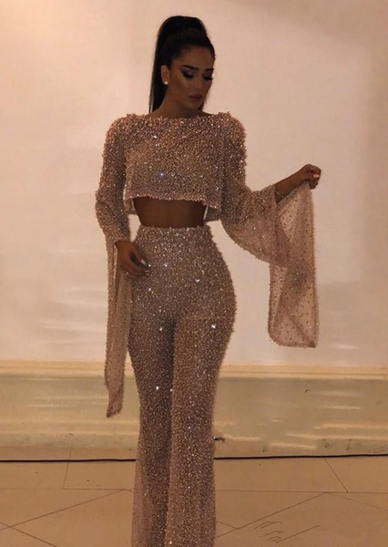 Hot Sell Sequined Two Pieces Prom Dresses Sheath Long Sleeves Plus Size Formal Dresses Party Evening Gowns Custom Made Pants Suits