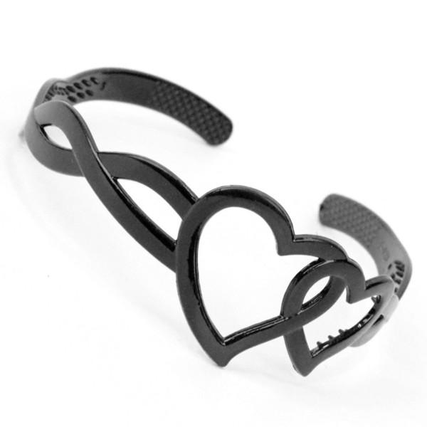 Lady Kız Kadınlar Kalp-şekil Siyah Saç Bandı Plastik Kafa Firkete Aksesuarları R476
