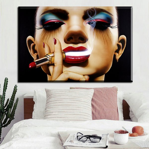 1 Piece HD Print Girl Smokes Beauty Woman On Canvas Pop Art Poster Wall Picture For Living Room Makeup Prints Poster No Framed