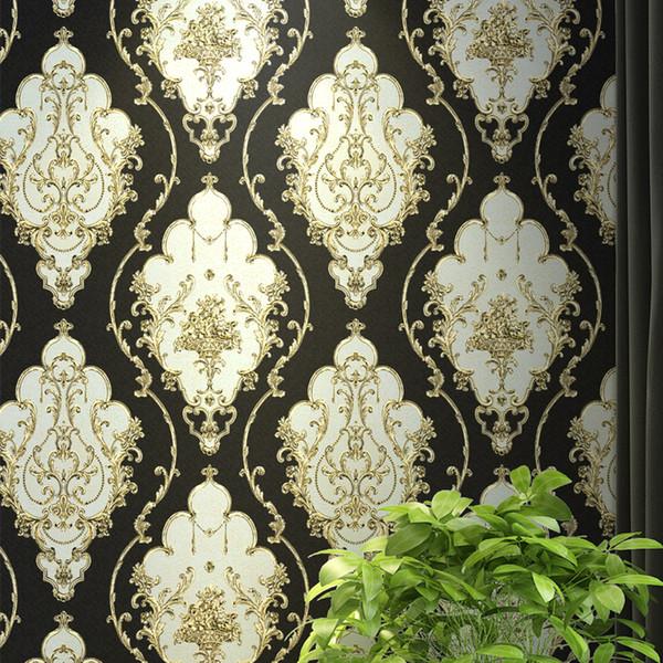 Rot, Blau, Schwarz Gold Viktorianischen Klassischen Europäischen Floral Damast Tapete 3d Stereo Vinyl Wandpapierrolle Wohnkultur Wohnzimmer