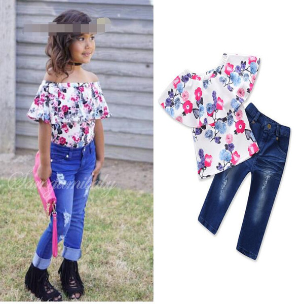 new children's clothing summer explosion models baby girls 2 piece set word shoulder floral t shirt + trousers kids clothes