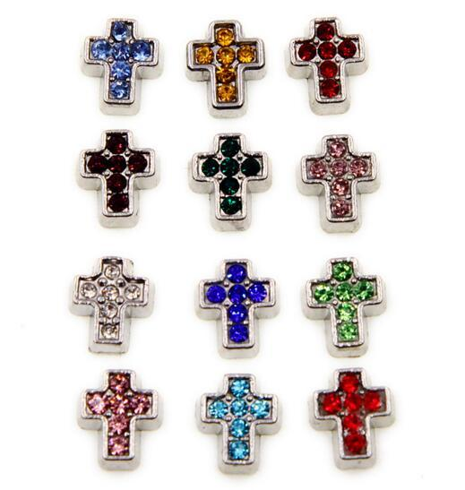 20PCS/lot mix colors Cross birthstone DIY Alloy Floating Locket Charms Fit For Magnetic Memory Floating Locket