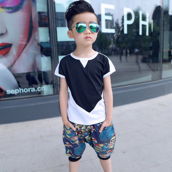 Summer Kids Boys T Shirt + Pants Fashion Short Sleeve Cool Boy T-shirts Cotton Children's Clothes Set O-neck Tops Boy Clothes J190513