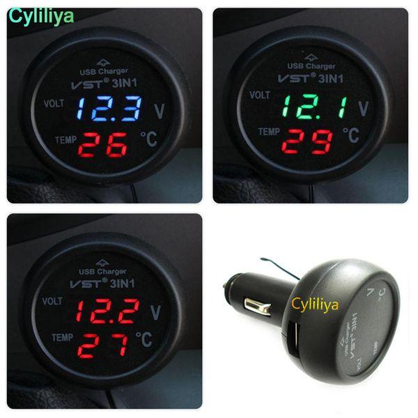 3 in 1 VST-706 Digital LED car Voltmeter Thermometer Auto Car USB Charger 12V/24V Temperature Meter Voltmeter Cigarette Lighter