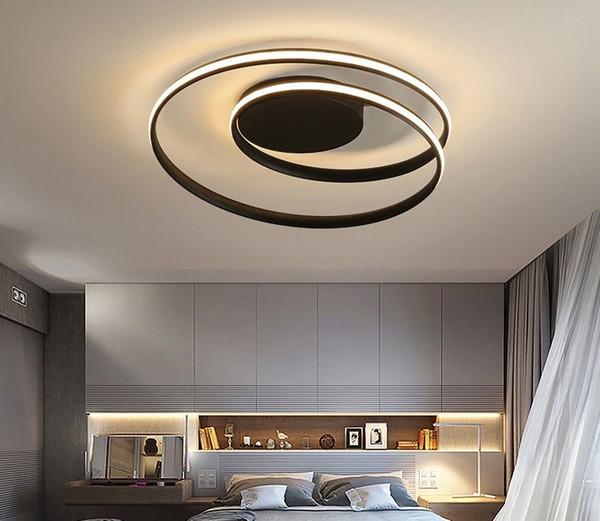 Moderne Kronleuchter Beleuchtung LED für Wohnzimmer Schlafzimmer Wohnzimmer Wohnkultur Licht mit Fernbedienung Weiß Schwarz Kronleuchter LLFA