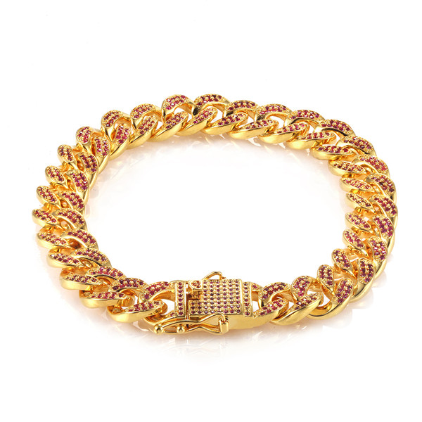 USENSET Hip Hop Bling Chains Jewelry Men Iced Out Chains Bracelet Gold White-gold Miami Cuban Link Chains