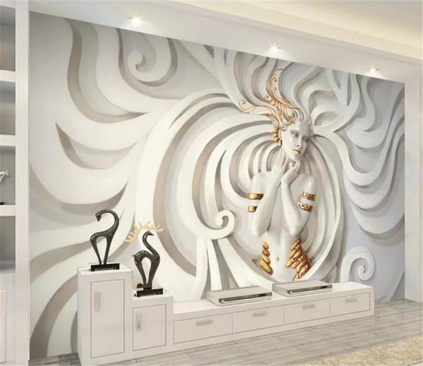 3D Wallpape En Relief Trois Cheveux Longs Cheveux Volants Beauté 3D Salon Chambre Chambre Fond Décoration Murale Papier Peint