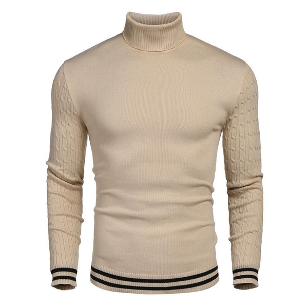 Winter fashion new men's sweater, casual fashion high-quality high-neck long-sleeved knit sweater, casual minimalist design style men's swea
