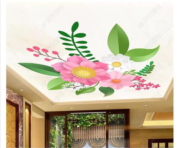 Personalizado 3D Zenith Photo Techo Fondo Mural Moda simple flor 3d sala de estar techo zenith interior mural Papel tapiz para paredes 3d