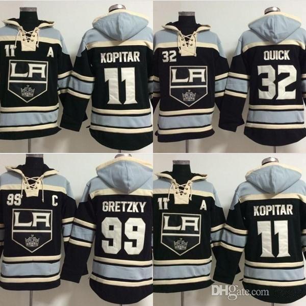 Los Angeles Kings 11 heißer Verkauf Mens Anze Kopitar 99 Wayne Gretzky 32 Schnell Beste Qualität Günstige Stickerei Logos Hockey Hoodies