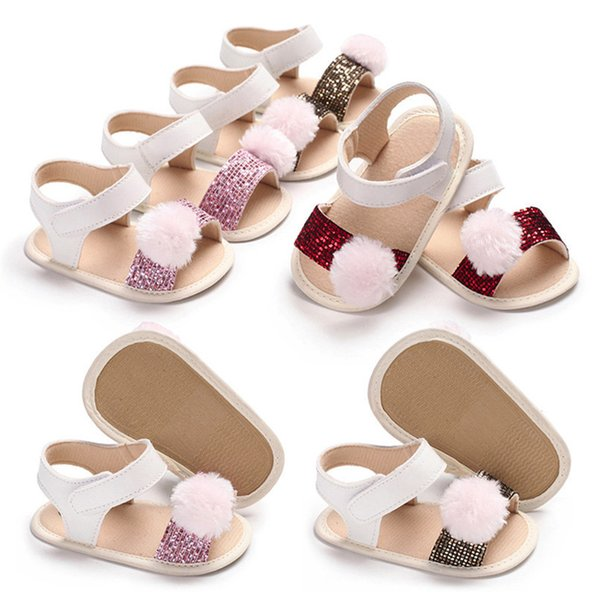 3 Color Summer Baby Girl Shoes Newborn Toddler Baby Girl Soft Ball Sequins Sandals Soft Sole Anti-slip Shoes Girl Sandals JE14#F