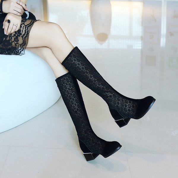2019 Summer Mesh Hollow Knee High Boots Spring Med Heels Long Boots Sandals New Fashion White Transparent Shoes For Woman 34-43