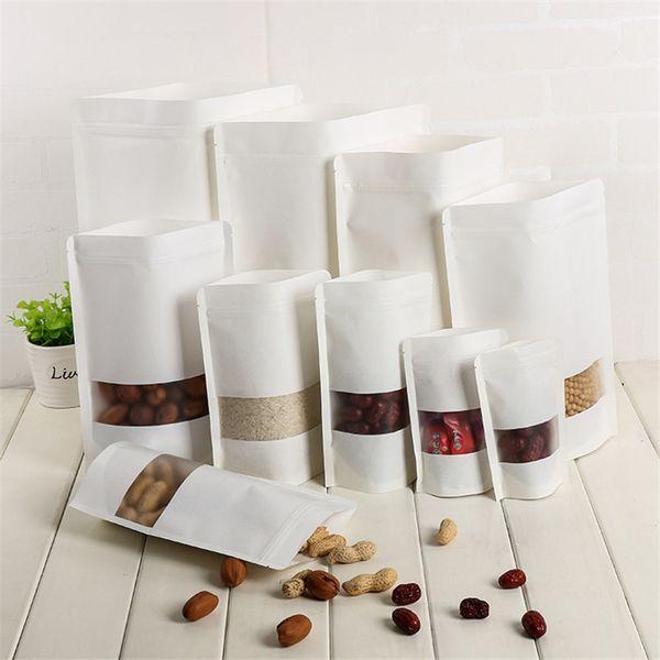 Libro Blanco 100pcs Bolsas de papel Kraft Food Mylar bolsa con ventana para los regalos de boda / / caramelo / té Kraft Bolsas Crafts Stand Up Ziplock bolsa de embalaje