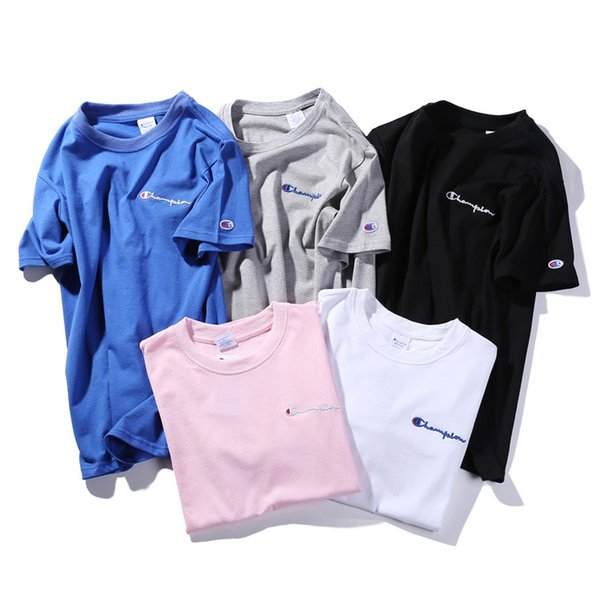 2019New Fashion Champ Pure color embroidery short sleeve T-shirt Couples Lovers pure cotton Short Sleeve Men women Hip Hop Street Style Tees