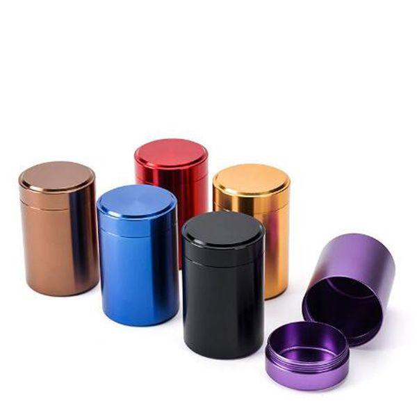 6 Colors Beautiful Aluminum Jar Tea Tin Box 45x70mm Small Cylinder Sealed Cans Coffee Tea Tin Container Storage Box