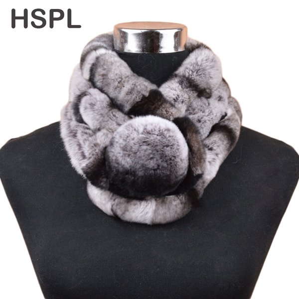 wholesale Fur Scarf Women Hot sale warm Soft Rabbit Scarves Winter Real Fur Scarf With Big Fur Ball Button cachecol bufandas mujer
