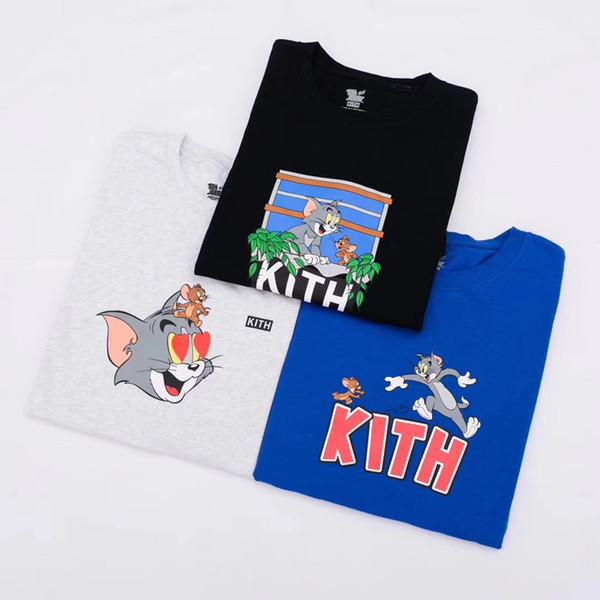 19SS Kith X Tom Jerry Tee Kedi ve Fare Karikatür Baskılı Erkek Kadın T-shirt Basit Yaz Kısa Kollu Sokak Kaykay Tee HFYMTX567