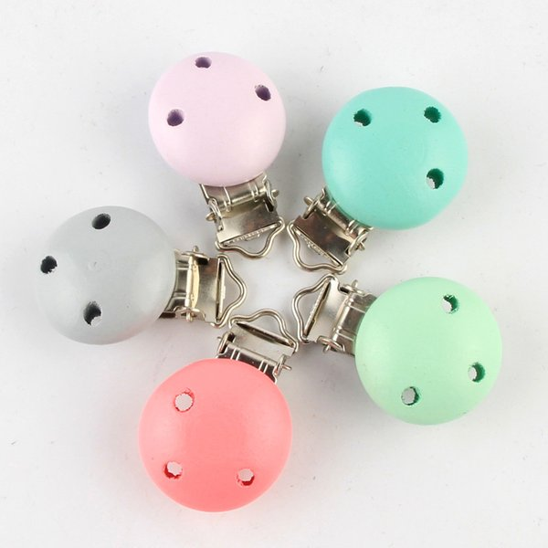 baby wooden pacifier clips 5Pcs Candy Color Pacifier Clip Wood Baby For Holders Infant Soother Clip Metal Wood Craft