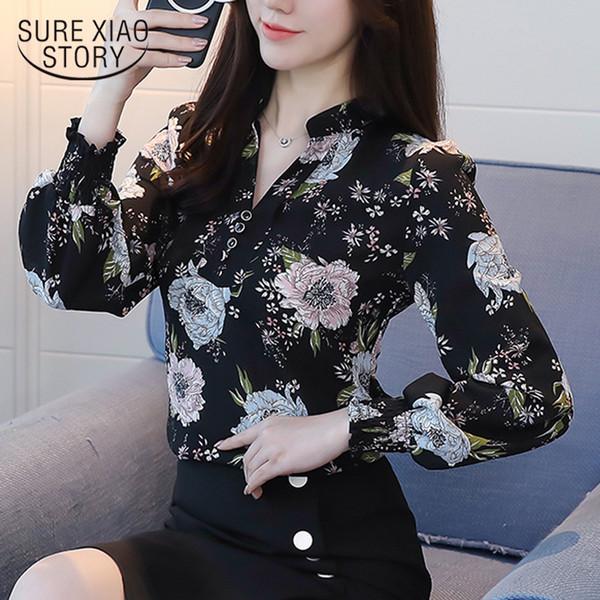 2018 Yeni Bahar Uzun Kollu Bluzlar Moda Ince Rahat Baskı Artı Boyutu Zarif Ol Stil Kadın Gömlek Şifon Giyim D556 30 Y190510