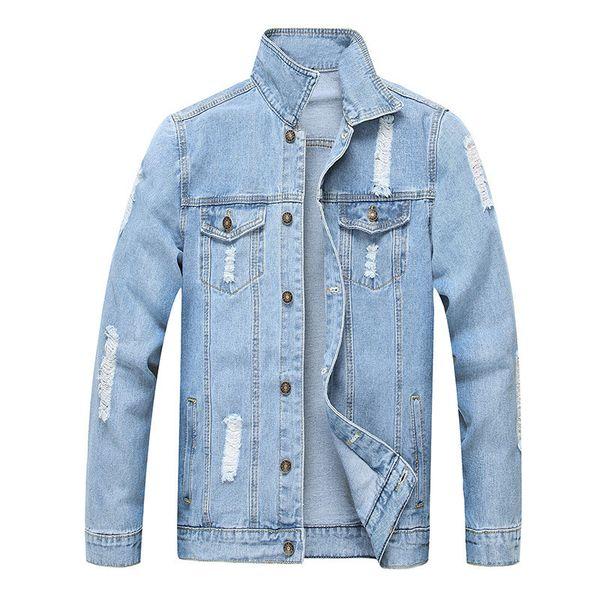 Модные мужские рваные джинсовые куртки выстиранные потертые джинсовые куртки светло-голубой верхняя одежда Мужская отложной воротник