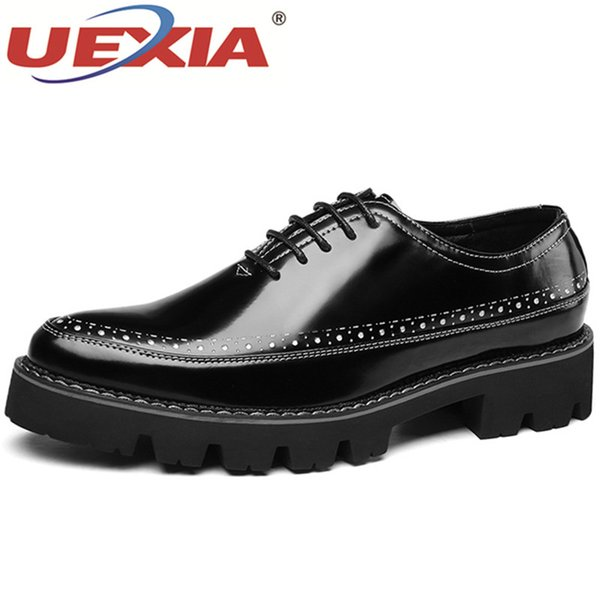 UEXIA Handmade Men Dress Loafers Microfiber Leather Formal Business Oxfords Italian Style Men's Flats wedding Shoes Footwear
