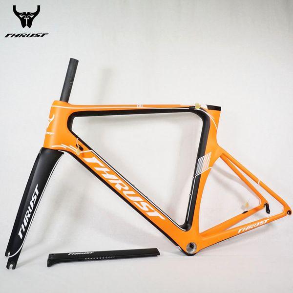 THRUST Full Carbon Road Frame 49cm 52cm 54cm 56cm 58cm Road Bike Frameset Carbon Bicycle Frame Orange BB30 BSA 700C Wheels