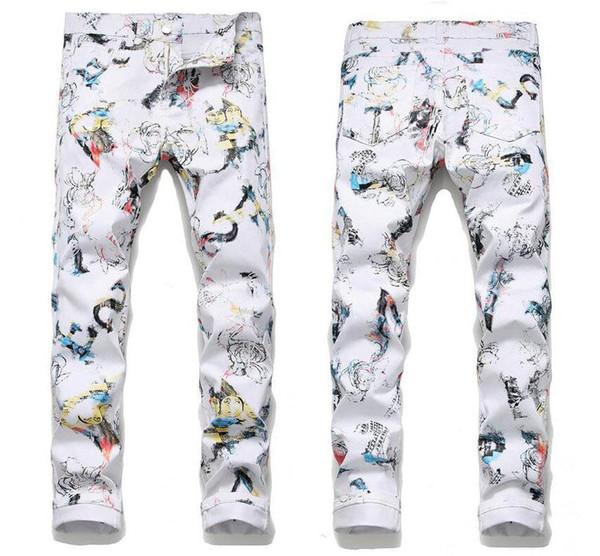 Newest Mens Printed Stretch White Jeans Fashion Designer Slim Fit Hip Hop Straight Leg Denim Pants Casual Trousers
