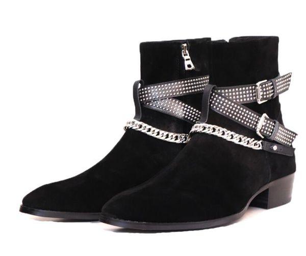 Rivet Buckle Uomini Stivali Moda Suede Classic Stivaletti Moto Stivali bassi tacco Scarpe a punta Men Shoes
