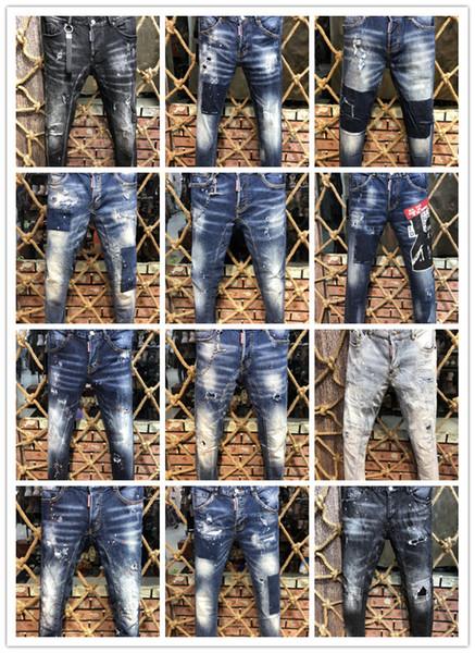 Imagen Real Italia ICON Hombres D2 Ripped Jeans # 0275 Motocicleta Moda Biker Short Jean Pantalones de mezclilla Casual Streetwear Agujero Estilo Shorts Jeans