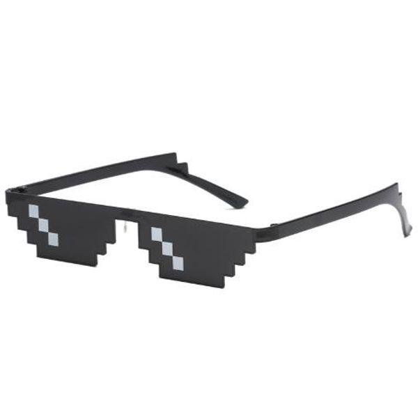 READY STOCK Funny Polygonal Thug Life Mosaic Pixel Sunglasses Women/Men Pixelated Mosaic Glasses Party Prop