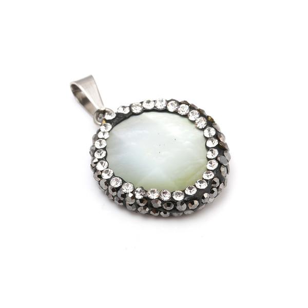 JNMM piedra natural conchas Colgantes con el collar pendiente delicado cristal para joyería que hace bricolaje collar Size18x22mm