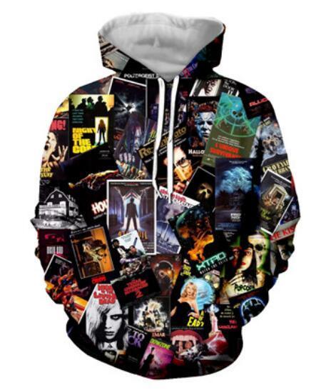 Moda Outono Inverno Hoodies Das Mulheres Dos Homens de Filmes de Terror dos anos 80 Colagem 3D Impressão Crewneck Hoodies Casual Bolsos Camisola Tops GQL0253