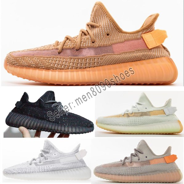 Designer shoes adidas yeezy boost 350 V2 men women 2019 Alta qualidade Womens V2 esportes Argila Hyperspace Estática Creme De Manteiga branco mens tênis Sapatos de Gergelim